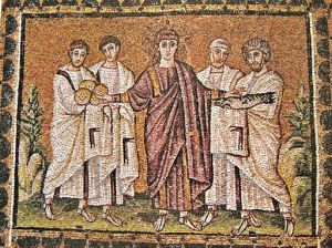 The Miracle of the Loaves and Fishes Basilica di Sant' Apollinare Nuovo Ravenna ITALY  6th century