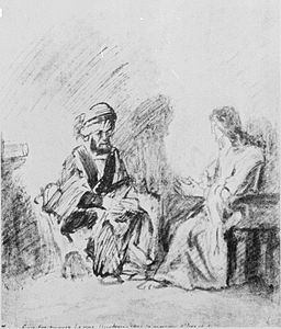 Rembrandt (1606-1669) Christ and Nicodemus pen and wash, between 1621 and 1669 via Wikimedia Commons