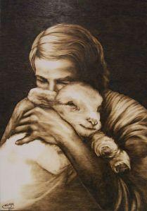 Stefy Mante The Shepherd's Love Opera di Pirografia su legno di pioppo, 2010
