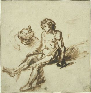 Rembrandt (1606-1669)The Good Samaritan, ca.1655-1660 pen and brown ink and white paint on paper  Museum Boijmans Van Beuningen
