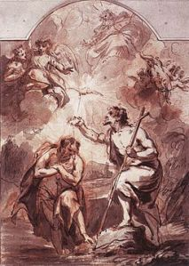 Jacob de Wit (1695-1754) Baptism of Christ in the Jordan chalk and pen, ca.1716 Amsterdam, Amstelkring Museum via Wikimedia Commons