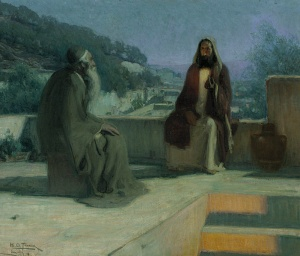 Henry Ossawa Tanner (1859-1937) Nicodemus and Jesus on a Rooftop, 1899 oil on canvas Pennsylvania Academy of the Fine Arts via Wikimedia Commons