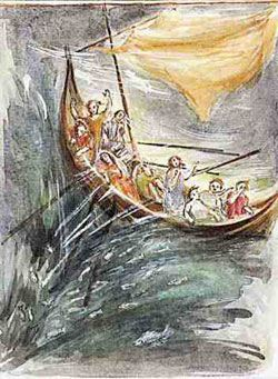 Jesus asleep in the boat
