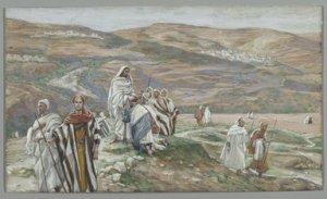 James Tissot, 1836-1902 Il les envoya deux à deux, 1886-1896 Opaque watercolor over graphite on gray wove paper Brooklyn Museum
