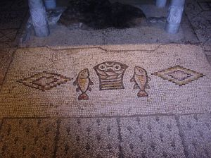 Loaves and Fishes mosaic in the Church of the Multiplication of Loaves and Fishes, Tabgha, Israel