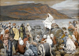 James Tissot (1836-1902) Jésus enseigne le peuple près de la mer opaque watercolor over graphite on gray wove paper, between 1886 and 1894 Brooklyn Museum