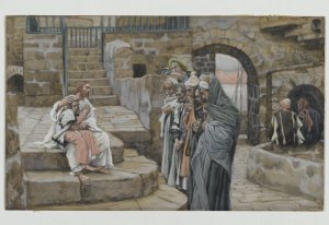 James Tissot (1836-1902) Jésus et le petit enfant opaque watercolor over graphite on gray wove paper, between 1886 and 1894 Brooklyn Museum