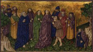 Ottheinrich-Bibel, Bayerische Staatsbibliothek Blatt 55v: Heilung des Taubstummen, Mk 7,31-37 ca.1425-1430