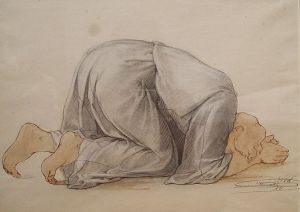 Francois-Barthelemy-Marius Abel (1832-1870) Figure kneeling in prayer, 1856 Watercolor and brown ink on mediumweight off-white wove paper By Shepherd Gallery (Flickr: ABEL - Figure Kneeling in Prayer) [CC BY 2.0], via Wikimedia Commons