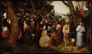 Pieter Brueghel the Elder (1526/1530–1569) The Sermon of St John the Baptist oil on oak, 1566 Budapest, Museum of Fine Arts