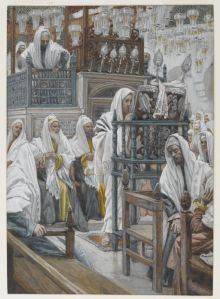 James Tissot (1836-1902) Jésus dans la synagogue déroule le livre opaque watercolor over graphite on gray wove paper, between 1886 and 1894 Brooklyn Museum
