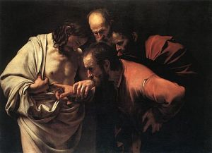 Caravaggio (1571-1610) Doubting Thomas oil on canvas, ca.1601-1602 Potsdam, Sanssouci