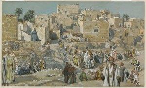 James Tissot (1836-1902) Il allait par les villages en route pour Jérusalem opaque watercolor over graphite on gray wove paper, between 1886 and 1894 Brooklyn Museum