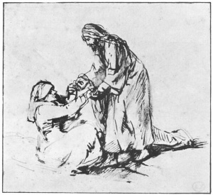 Rembrandt van Rijn (1606-1669) Christ Healing Peter's Mother-in-Law pen and wash, ca. 1650-1660 Paris, Fondation Custodia