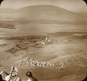"""...looking upon Mount Tabor from the summit of the Hill of Moreh or Little Hermon. That village in the middle of the view is Nain, where, on one of his journeys, Jesus raised to life the only son of a widow."" By OSU Special Collections & Archives : Commons [No restrictions], via Wikimedia Commons"