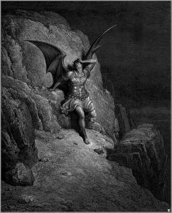 "Gustave Doré (1832-1883) The Fall of Satan Illustration for John Milton's ""Paradise Lost"" engraving, 1866"