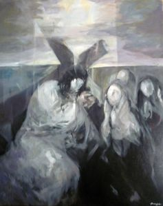 Ruizanglada (1929-2001) Agnus Dei - Serie Negra, 1995 Expuesto en la 1ª Feria de Arte Contemporáneo de San Sebastián Donostiartean 7-11 agosto 2014.
