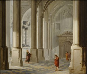 Dirck van Delen, 1604/5-1671 Church Interior with the Parable of the Pharisee and the Publican (Luke 18:9-14) Oil on Panel, 1653 Clark Art Institute