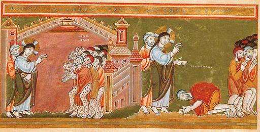 Codex Aureus Epternacensis Cleansing of the ten lepers, ca.1035-1040