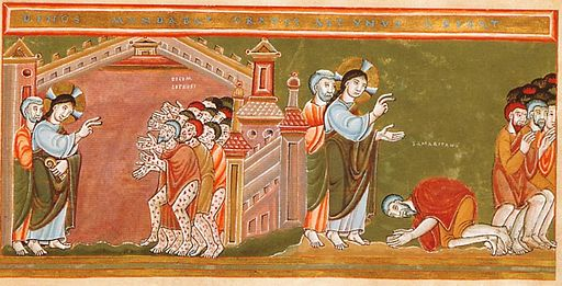 Codex Aureus Epternacensis Cleansing of the ten lepers, ca.1035-1040