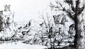 Augustin Hirschvogel (1503-1553) Temptation of Christ